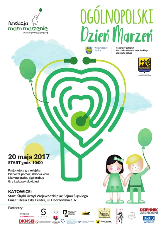 """Plakat akcji """"Dzień marzeń"""" z informacjami o wydarzeniu oraz rysunkiem przedstawiającym zielone serce oraz dwoje dzieci"""