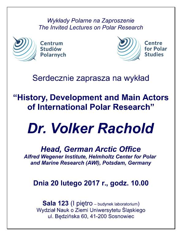 Zaproszenie na wykład z logo Centrum Studiów Polarnych, imieniem i nazwiskiem naukowca i tytułem wykładu