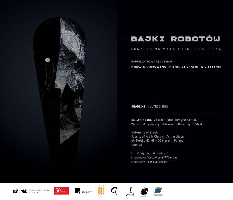 Plakat konkursu, na czarnym tle fragment czarno-białego obrazka oraz informację o konkursie, organizatorze oraz adresy stron, na których znajdują się informacje o konkursie