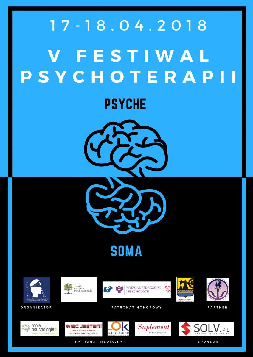 plakat w kolorystyce niebiesko-czarnej promujący V festiwal psychoterapii. Na plakacie dwa ustawnione jeden nad drugim zwoje mózgowe. Nad tym u góry napis psyche, nad tym na dole - soma. Na plakacie znajdują się też logo organizatorow i podstawowe dane dot. wydarzenia