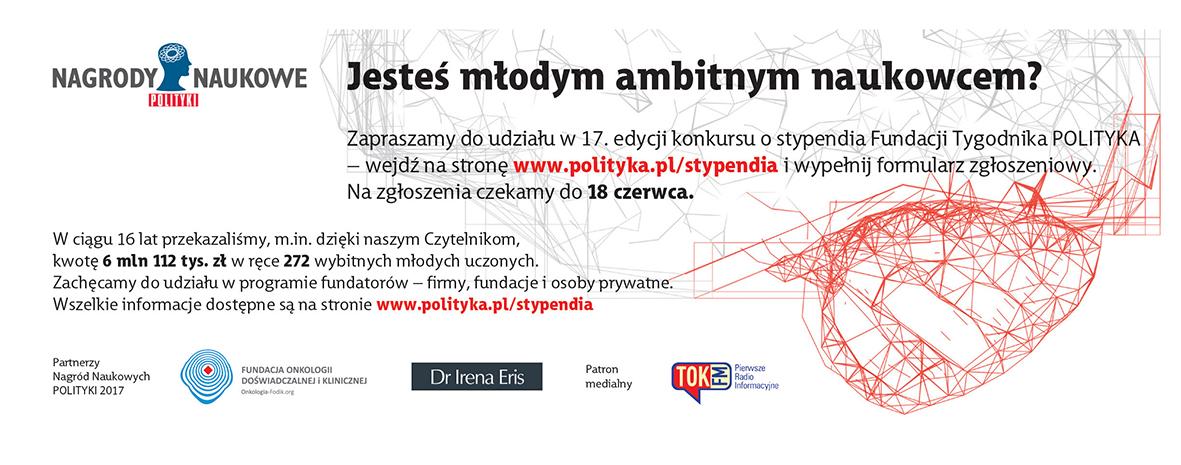 """Plakat promujący nagrody naukowe """"Polityki"""" zawierający szczegółowe informacje"""