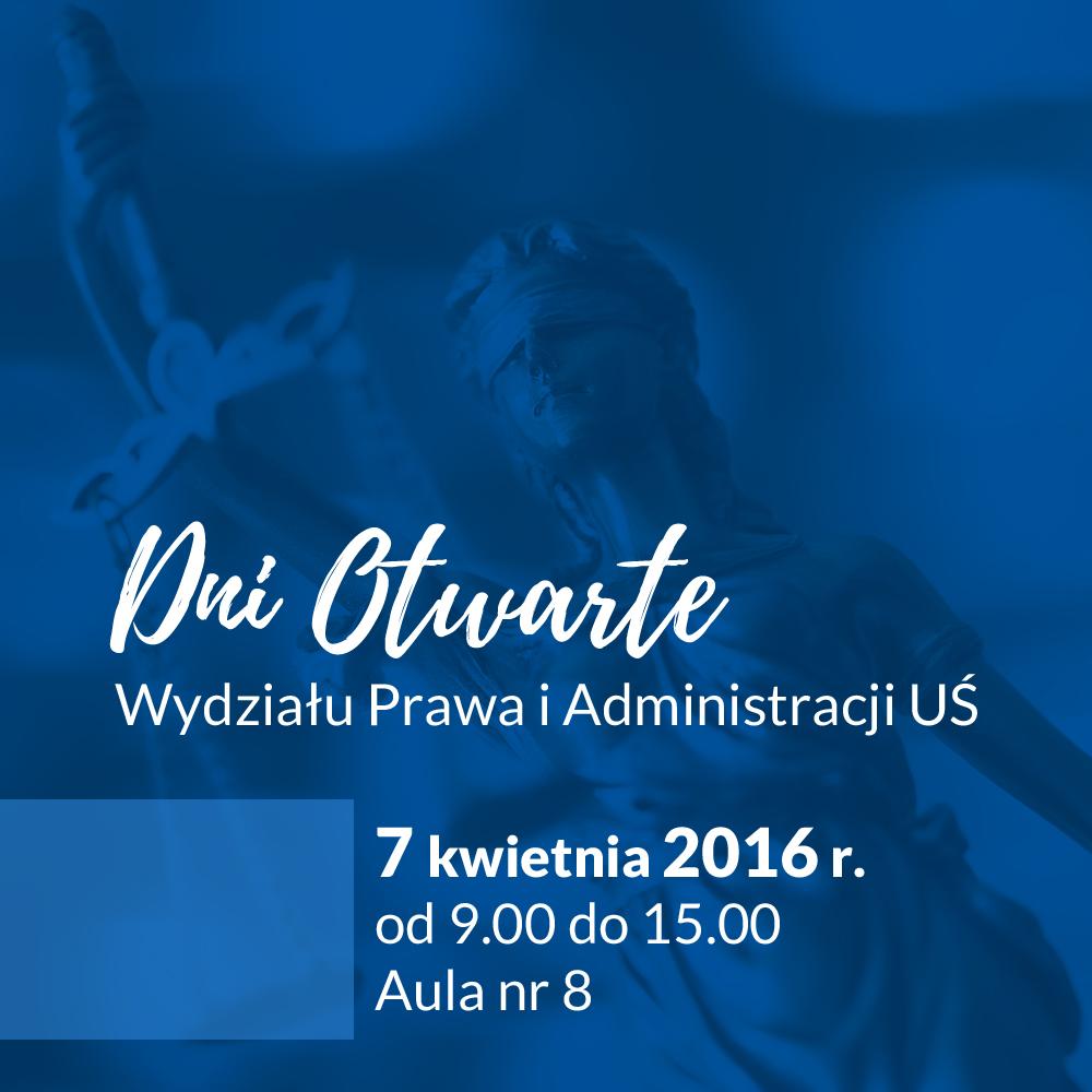 Plakat promujący dni otwarte Wydziału Prawa i Administracji