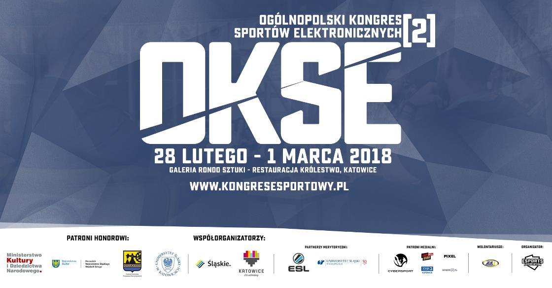 niebieski plakat promujący Ogólnopolski Kongres Sportów Elektronicznych #2 z białymi napisami: nazwa i data wydarzenia, logo partnerów