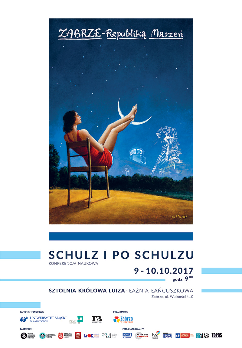 Plakat promujący konferencję. Przedstawia dziewczynę trzymającą nogi na księżycu