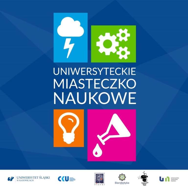 Plakat Uniwersyteckiego Miasteczka Naukowego z czterema symbolami: żarówką, błyskawicą, trybami oraz szklanym naczyniem.