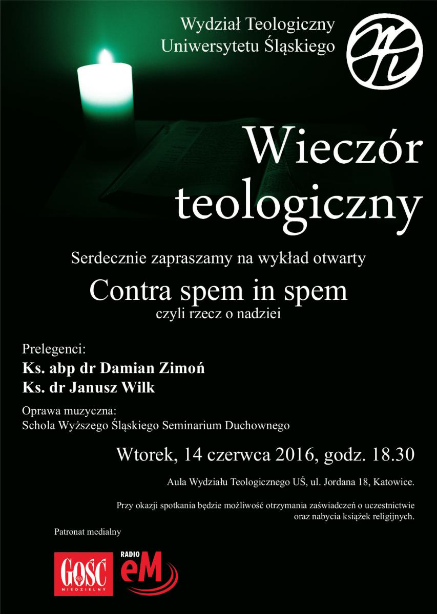 Plakat promujący XIV Wieczór Teologiczny