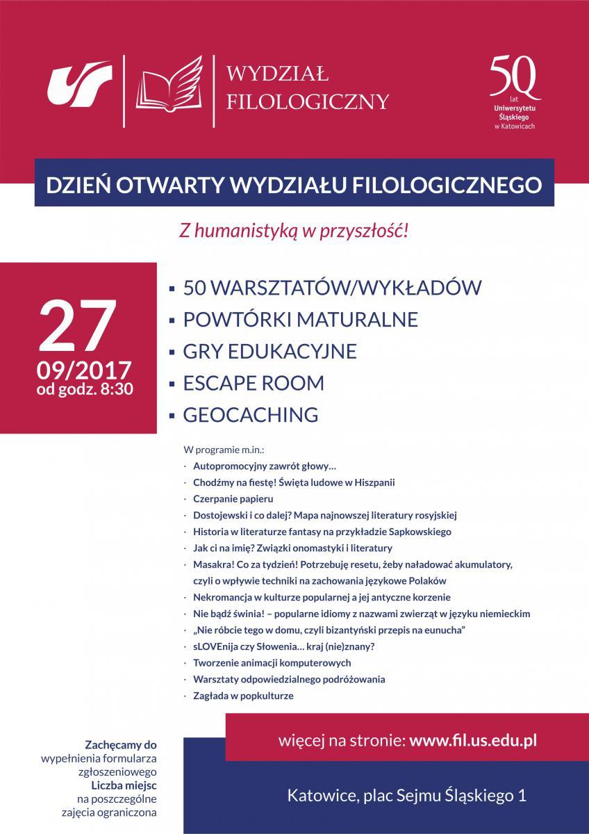 Plakat promujący dzień otwarty Wydziału Filologicznego zawierający podstawowe informacje nt. wydarzenia oraz kilka tytułów zaproponowanych w jego programie