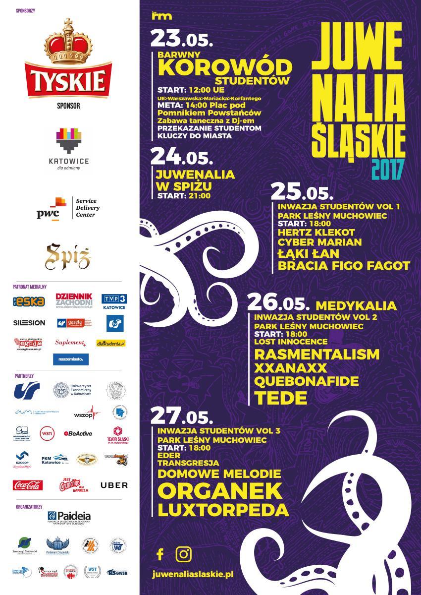 Plakat promujący Juwenalia Śląskie 2017 ze szczegółowym harmonogramem wydarzenia