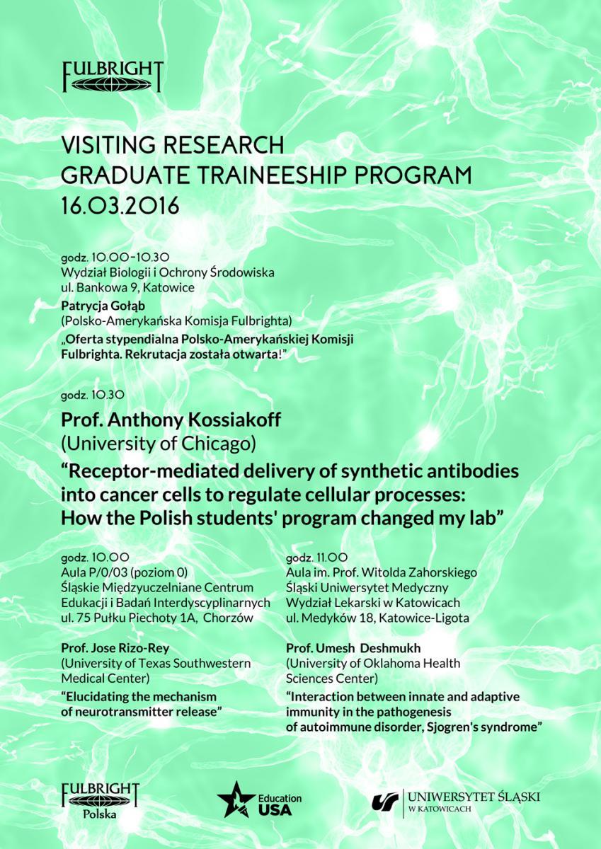 Plakat zawierający informacje na temat wykładu prof. Anthony'ego Kossiakoffa