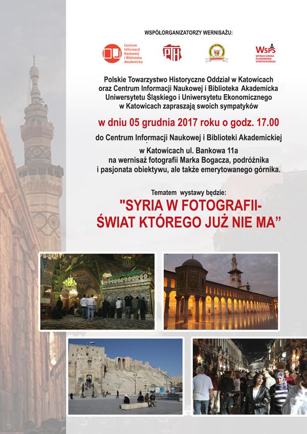 plakat promujący wystawę fotografii z Syrii wykonanych przez Marka Bogacza zawierający informacje podstawowe nt. wydarzenia oraz kilka zdjęć