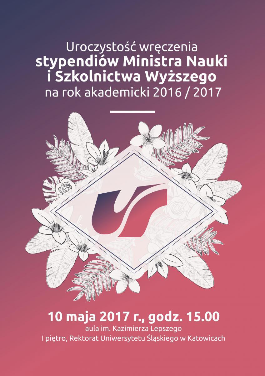 Plakat promujący uroczystość wręczeń stypendiów MNiSW zawierający podstawowe informacje nt. wydarzenia