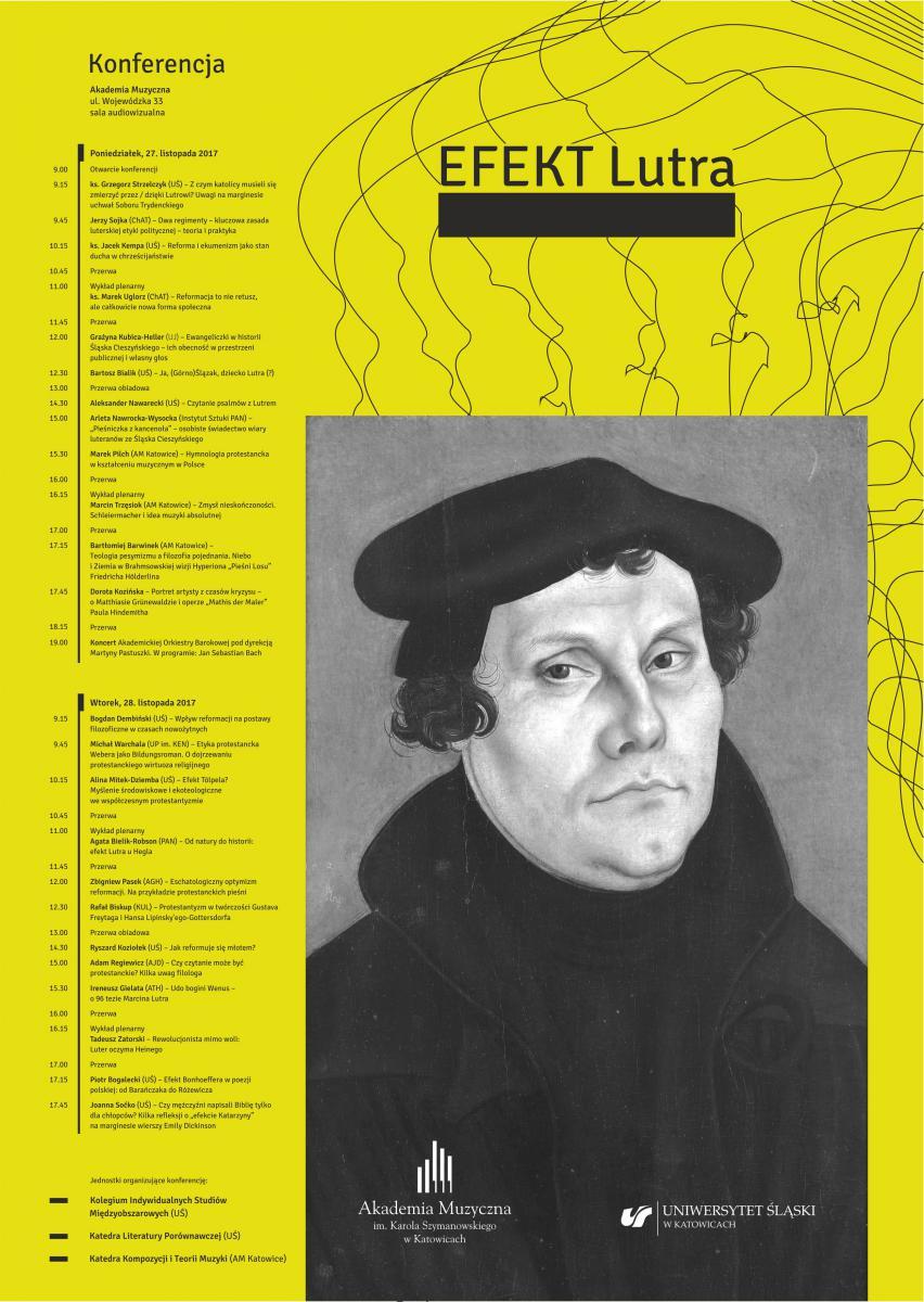 żólty plakat z podobizną Marcina Lutra i szczegółowym programem konferencji