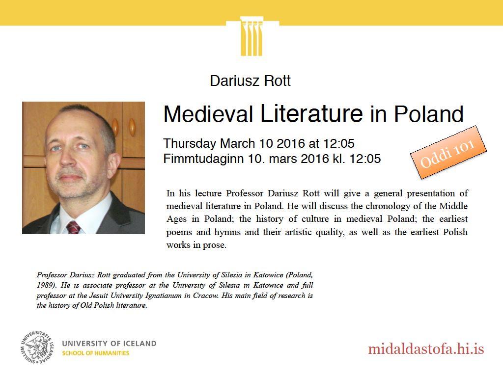 plakat promujący wykład prof. Rotta w Rejkjaviku