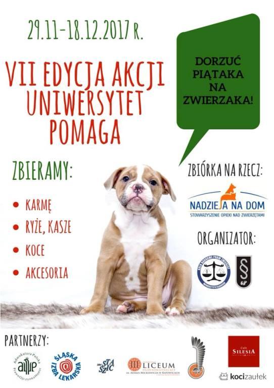 Plakat akcji: na białym tle pies z napisem: Dorzuć piątaka na zwierzaka! oraz z podstawowymi informacjami o akcji.