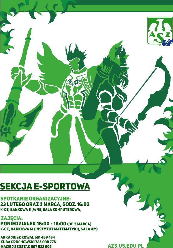 Plakat wydarzenia, dwie postaci z gier w kolorze zielonym