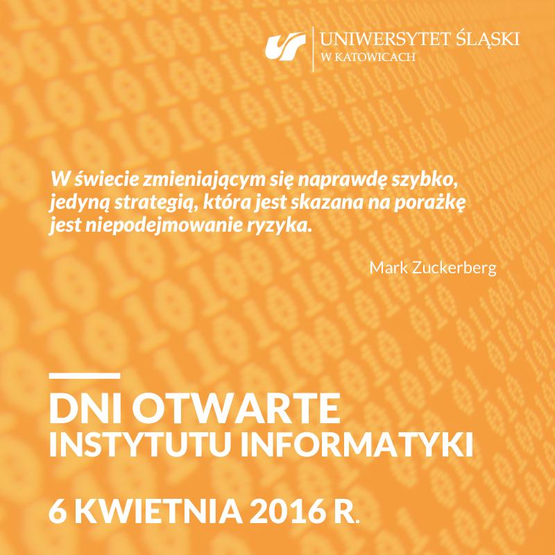 plakat promujący dzień otwarty Instytutu Informatyki