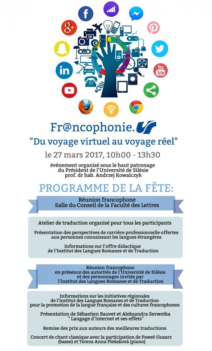 Plakat promujący Frankofonię 2017, zawierający szczegółowy opis programu wydarzenia i ikonki internetowe