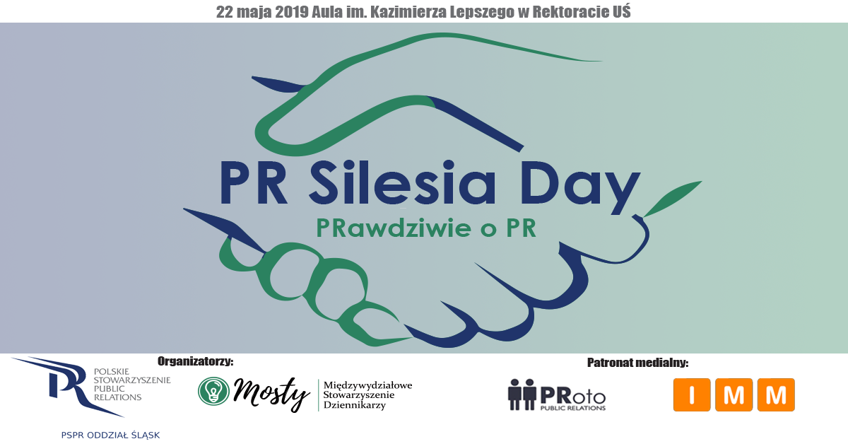 """plakat wydarzenia. Napis """"PR Silesia Day"""" i w tale graficznie przedstawiony """"uścisk dłoni"""""""