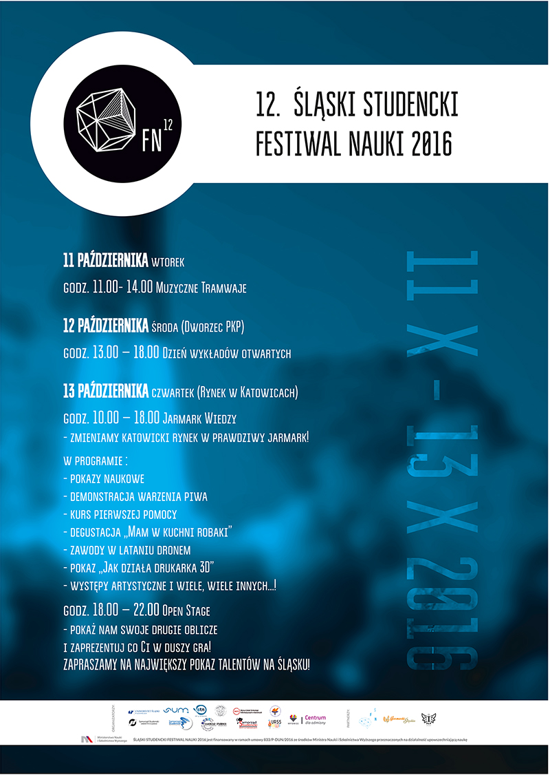 Plakat z programem festiwalu nauki