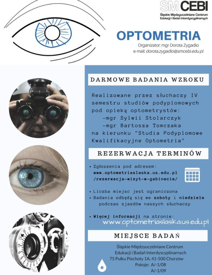 Plakat akcji, na którym widać oko oraz przyrządy optometryczne
