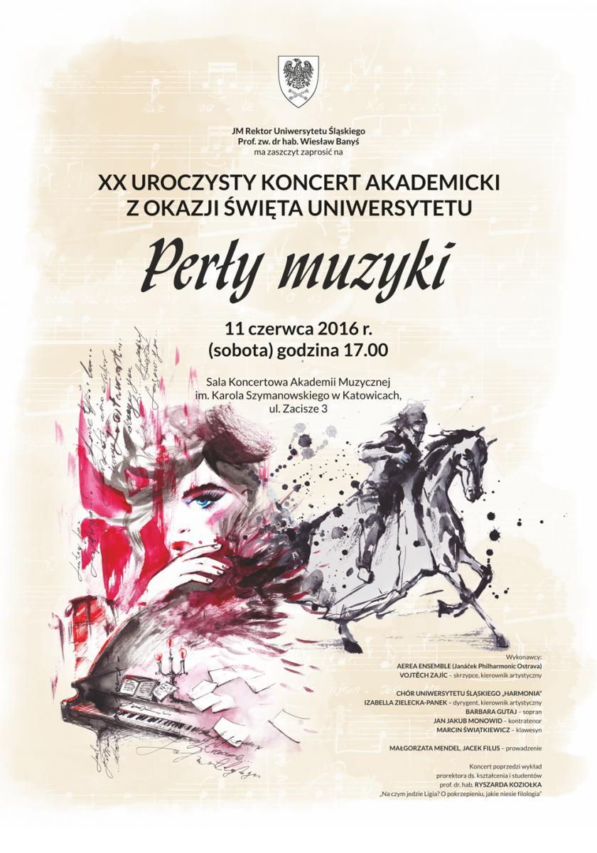Plakat promujący jubileuszowy koncert akademicki z okazji święta Uniwersytetu Śląskiego