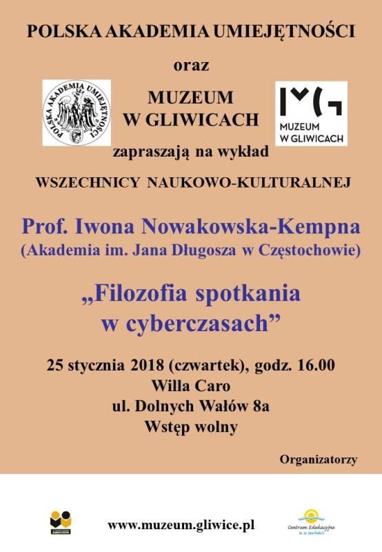 Plakat-zaproszenie na wykład (grafika zawiera datę i tytuł prelekcji oraz logotypy)