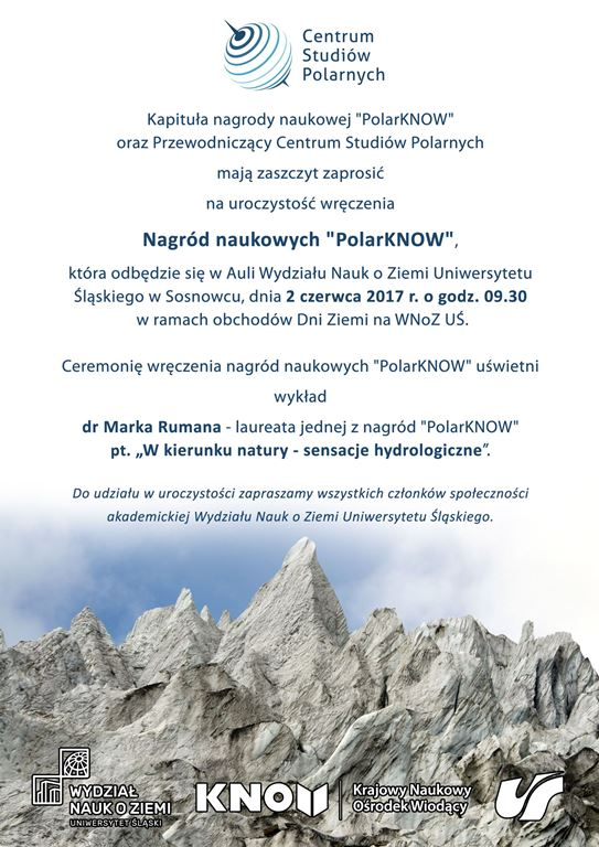 Plakat wydarzenia z logo Centrum Studiów Polarnych oraz informacjami nt. daty i miejsca wydarzenia oraz wykładu
