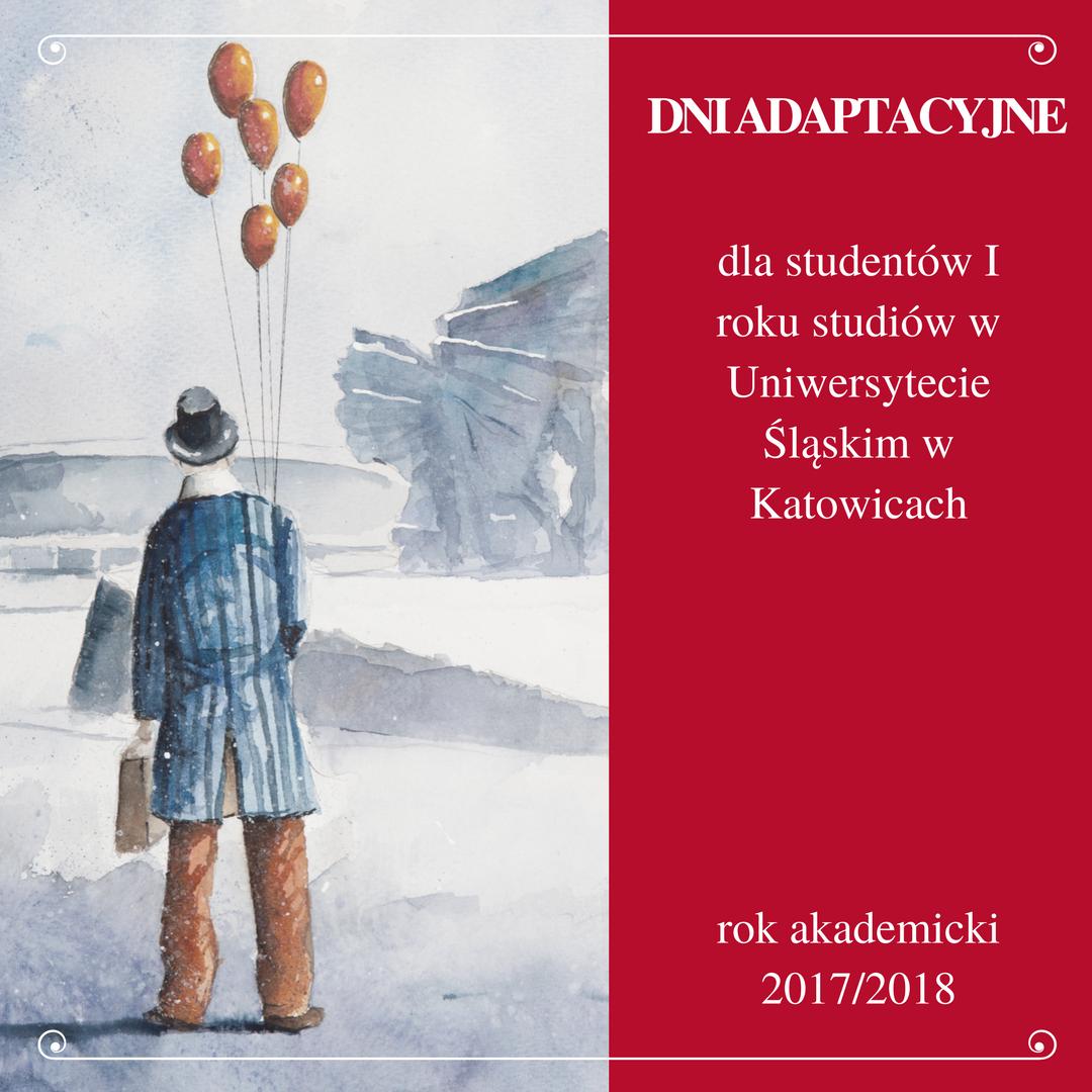 Plakat promujący Dni Adaptacyjne przedstawiający człowieka trzymającego baloniki i teczkę idącego na tle pomnika Powstańców Śląskich