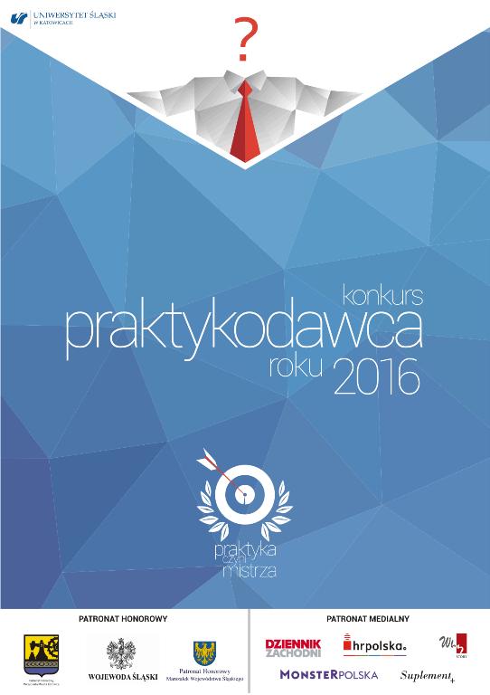 """Plakat konkursu """"Praktykodawca Roku Województwa Śląskiego 2016"""" z obrazkiem tarczy i napisem """"Praktyka czyni mistrza"""""""