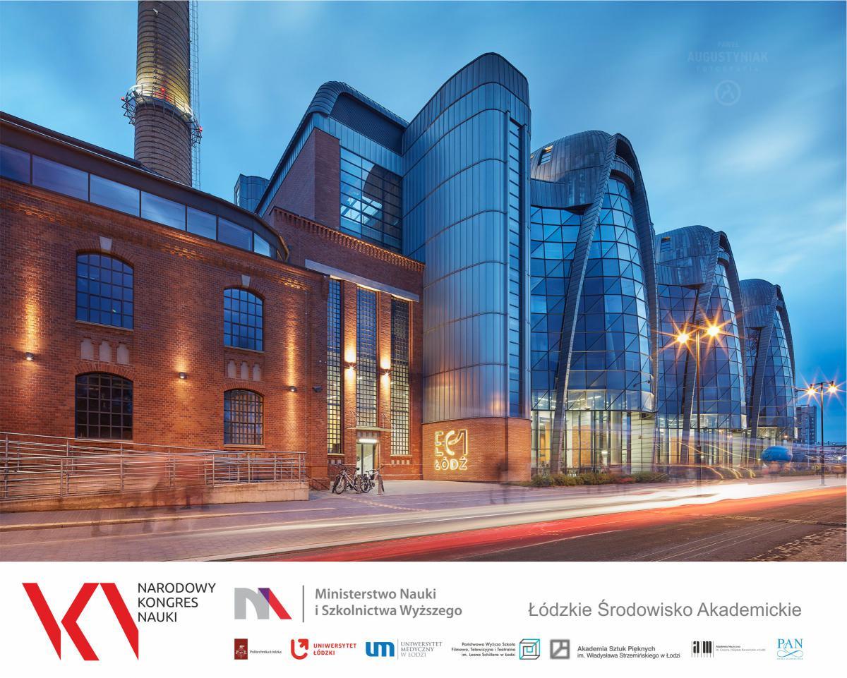 Grafika z budynkiem łódzkiej uczelni