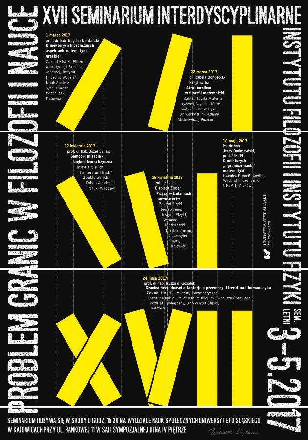 Plakat seminarium: na czarnym tle zapisany tytuł oraz program seminarium
