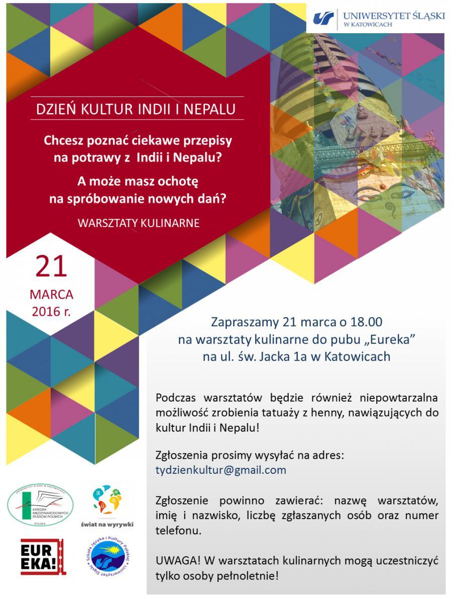 platat dnia kultur Indii i Neapolu dotyczący warsztatów kulinarnych