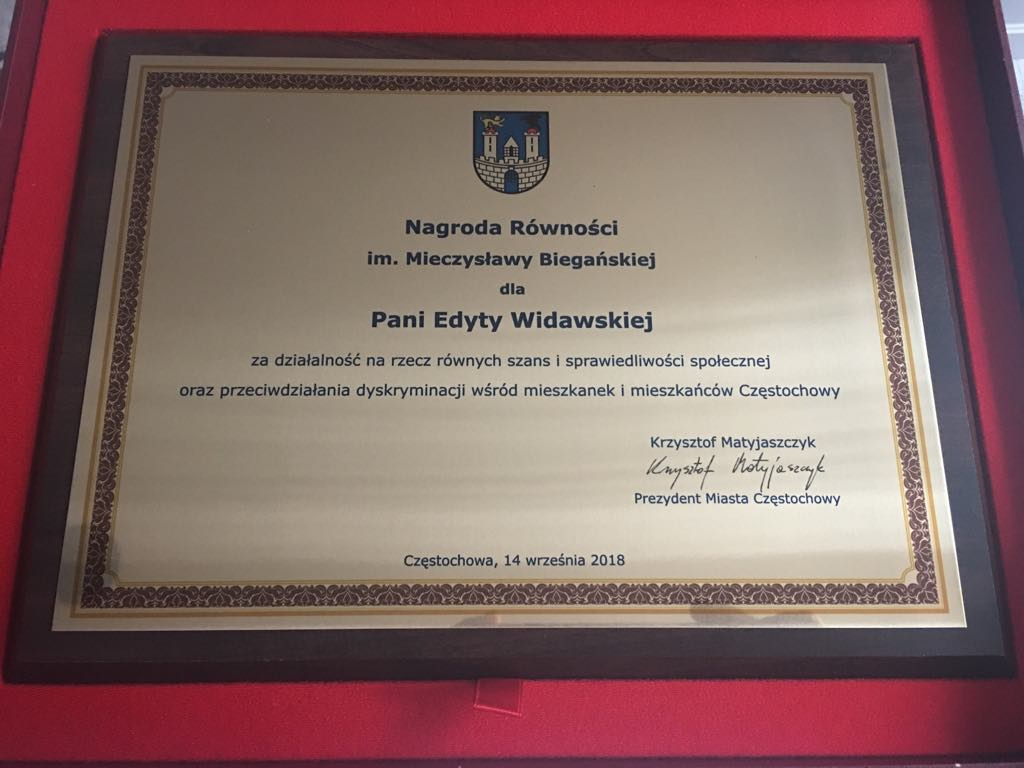 Dyplom: Nagroda Równości . Mieczysławy Biegańskiej