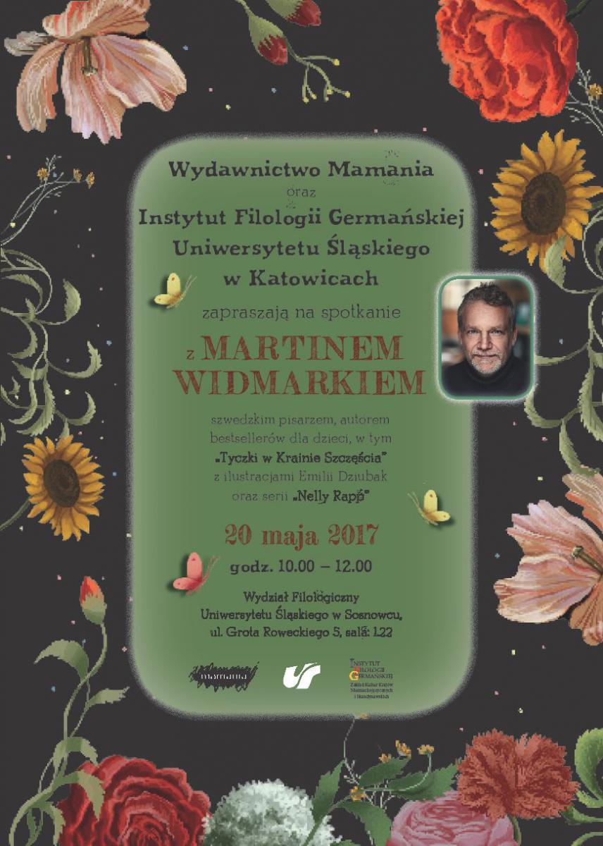 Plakat promujący spotkanie autorskie z Martinem Widmarkiem zawierające szczegóły dot. wydarzenia i zdjęcie pisarza