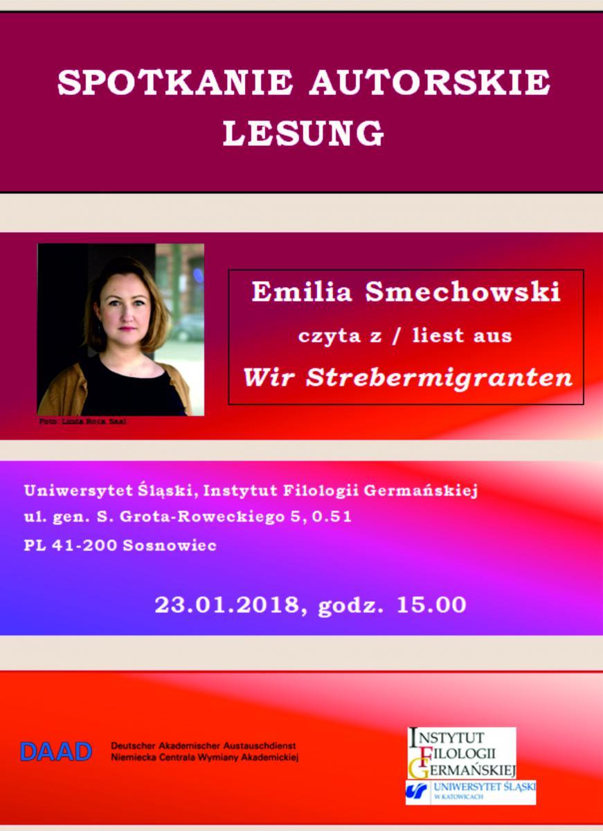 dwujęzyczny plakat ze zdjęciem Julii Smechowskiej oraz z miejscem i datą spotkania autorskiego. Napisy w języku polskim i niemieckim