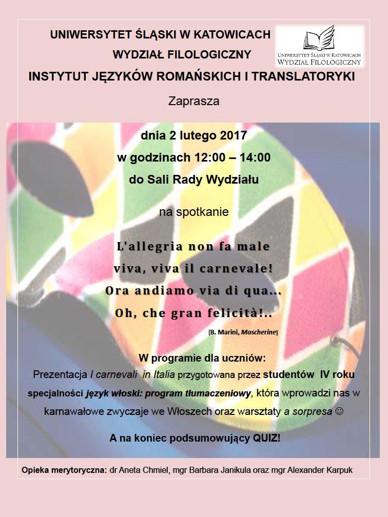 Plakat promujący Italofonię 2017 zawierający program wydarzenia