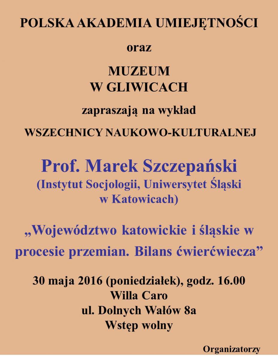 Plakat promujący wykład prof. Marka Szczepańskiego organizowany w ramach Wszechnicy PAU