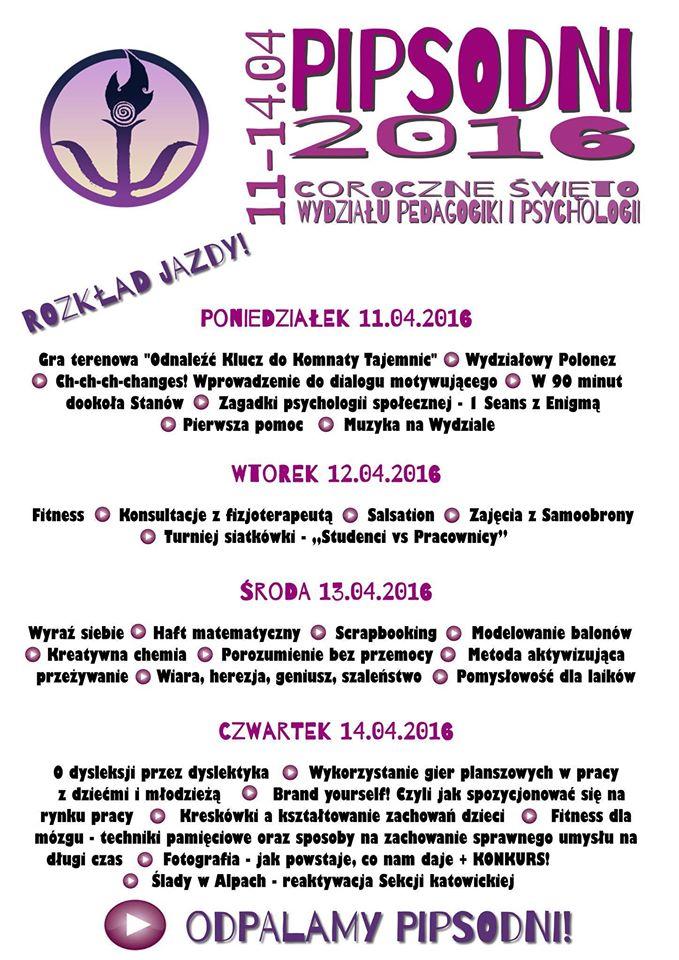 plakat wydarzenia, spis wszystkich konferencji i warsztatów