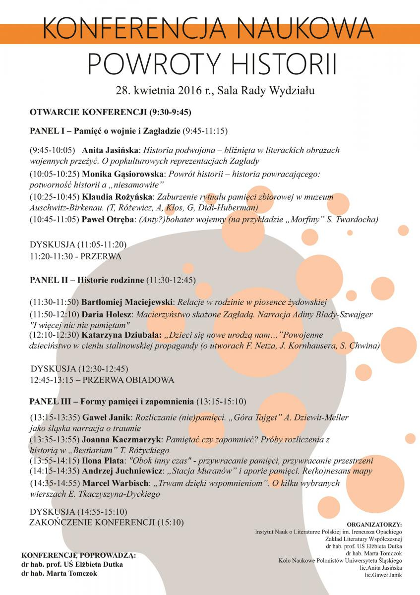 "plakat promujący konferencję pt. ""powroty historii"""
