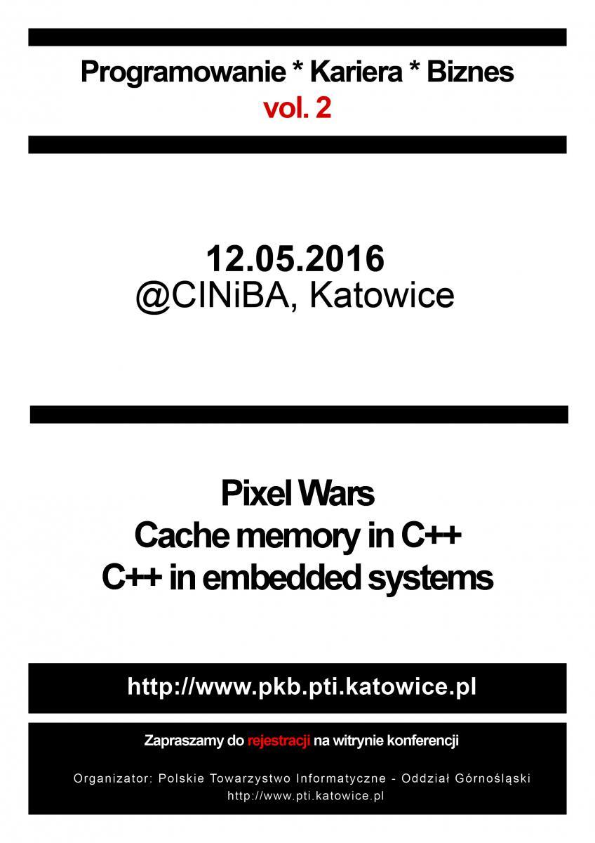"""grafika reklamująca konferencje pt.""""Programowanie – Kariera – Biznes Vol. 2"""""""