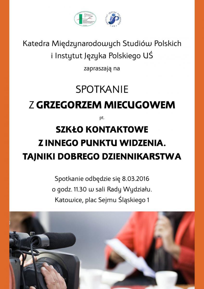 Plakat informujący o spotkaniu z Grzegorzem Miecugowem