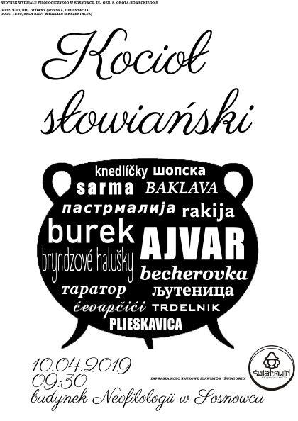 plakat promujący dzień slawistyczny - czarno-biały z napisem kociołek słowiański i grafiką przedstawiającą kociołek