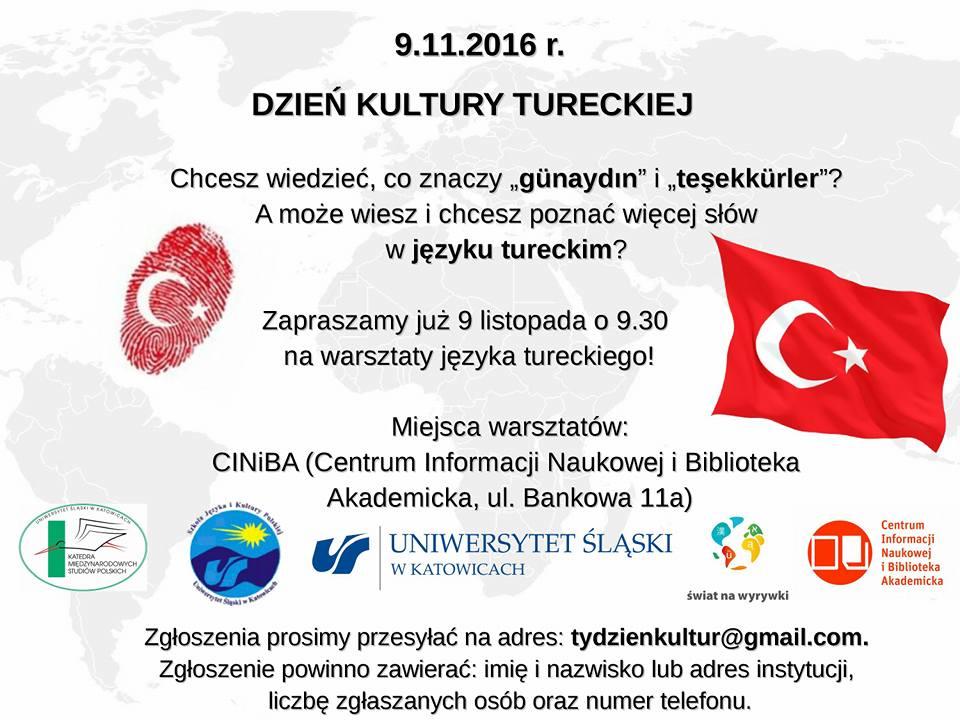 Plakat promujący Dzień Kultury Tureckiej
