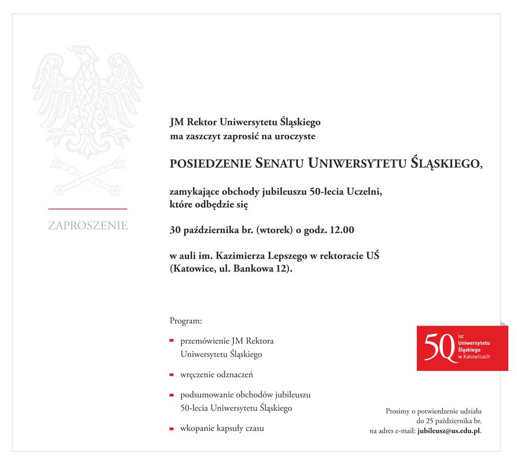 Zaproszenie na uroczyste posiedzenie Senatu Uniwersytetu Śląskiego