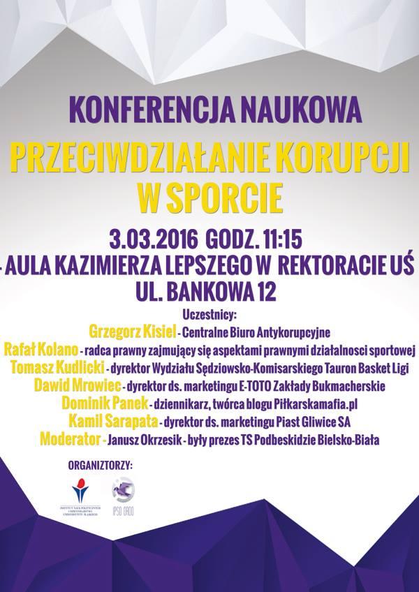 plakat promujący konferencję dotycząca przeciwdziałaniu korupcji w sporcie