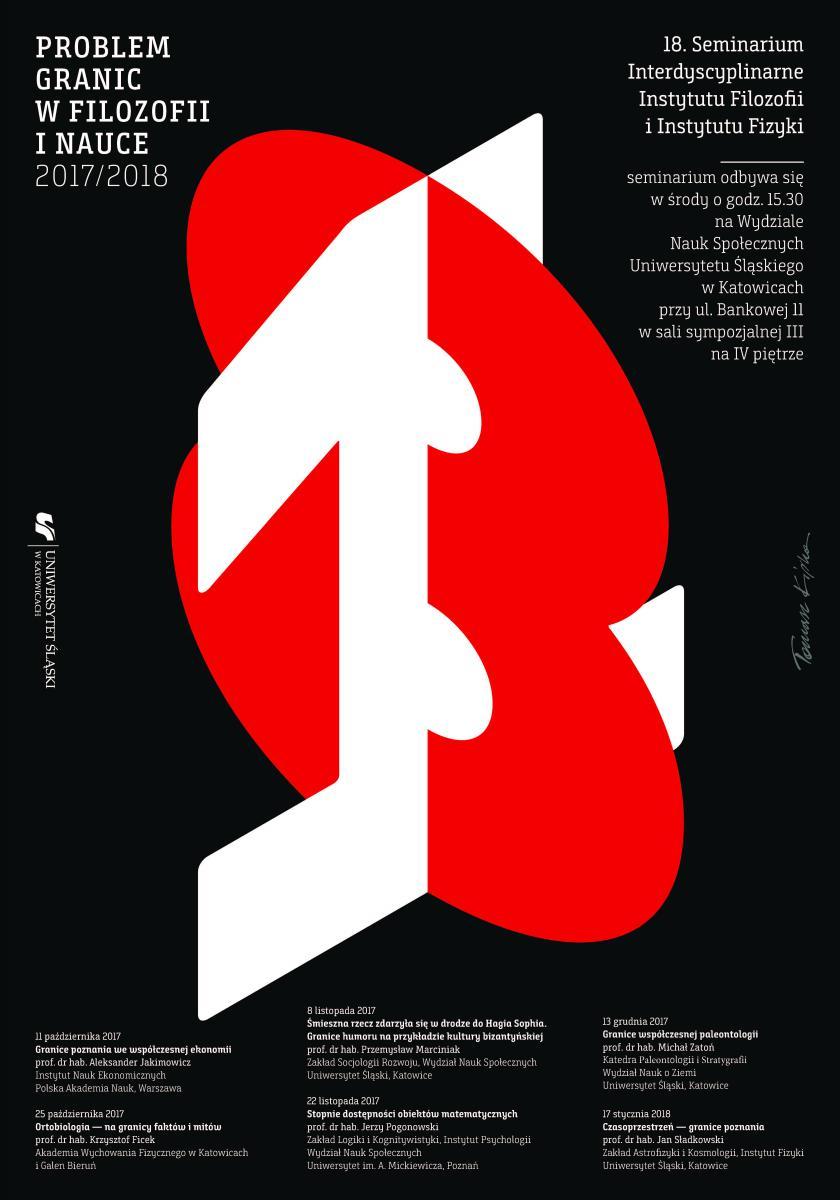 """plakat promujący 18. edycję seminarium """"problem granic w filozofii i nauce"""" zawierający nazwiska prelegentów i daty ich wykładów"""