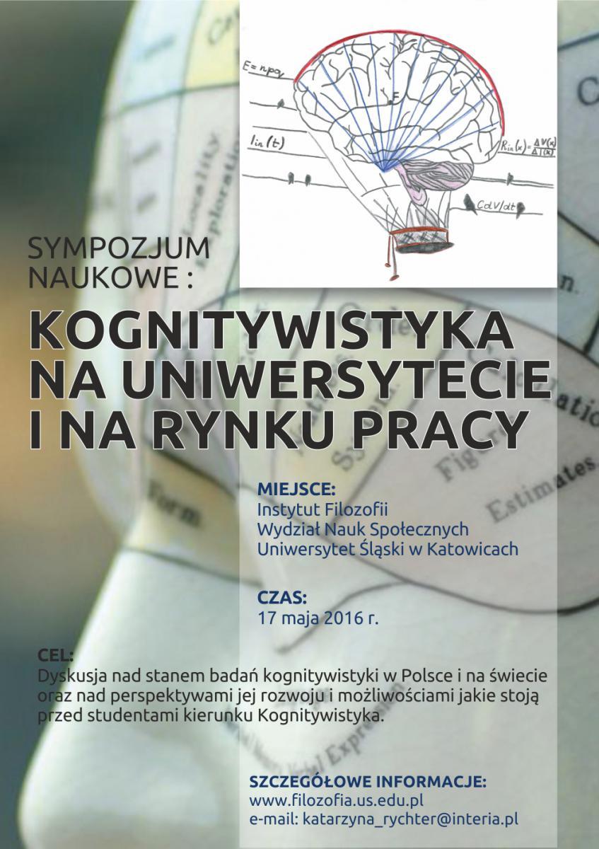 """Grafika: plakat informujący o sympozjum naukowym """"Kognitywistyka na uniwersytecie i na runku pracy"""""""