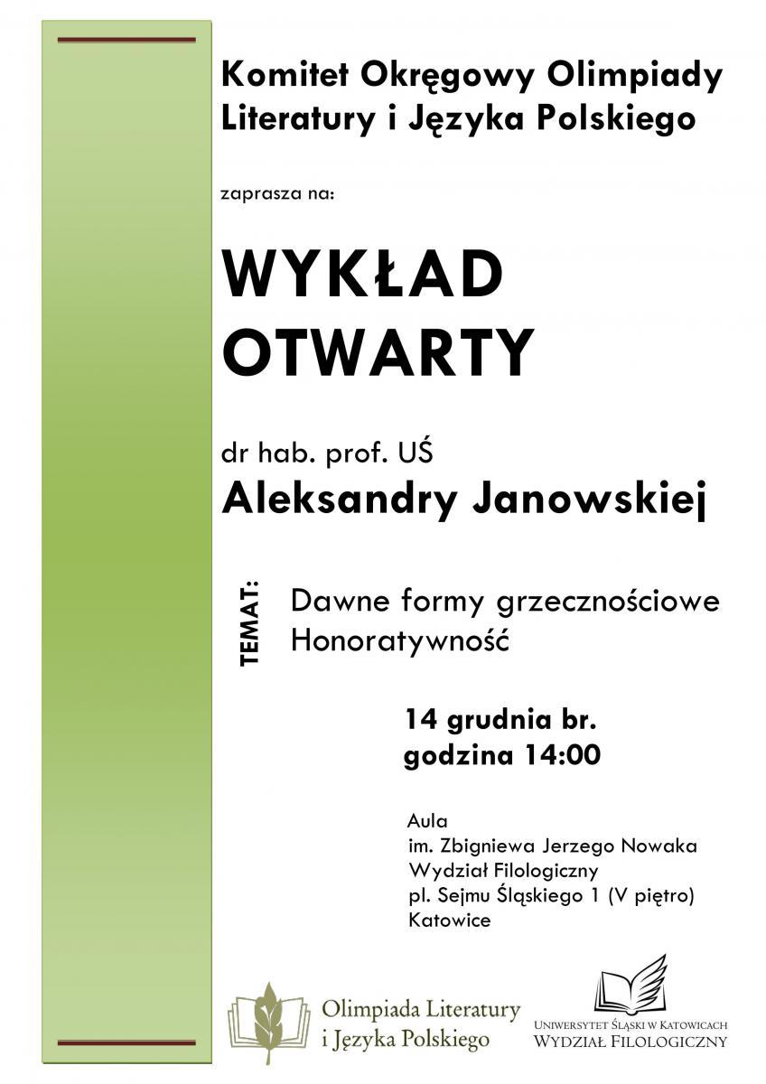 Plakat promujący wykład prof. Aleksandy Janowskiej