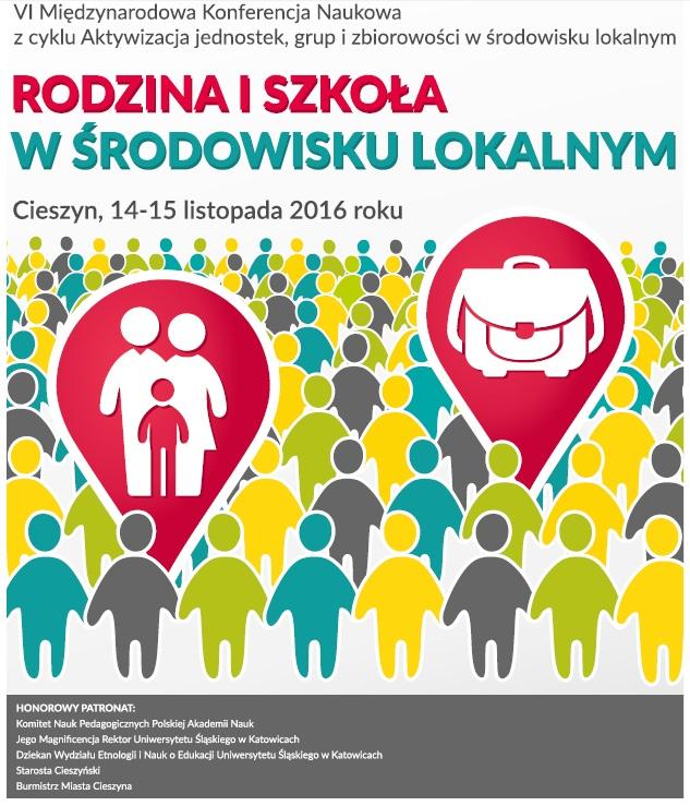 """Plakat promujący konferencję pt. """"Rodzina i szkoła w środowisku lokalnym"""""""
