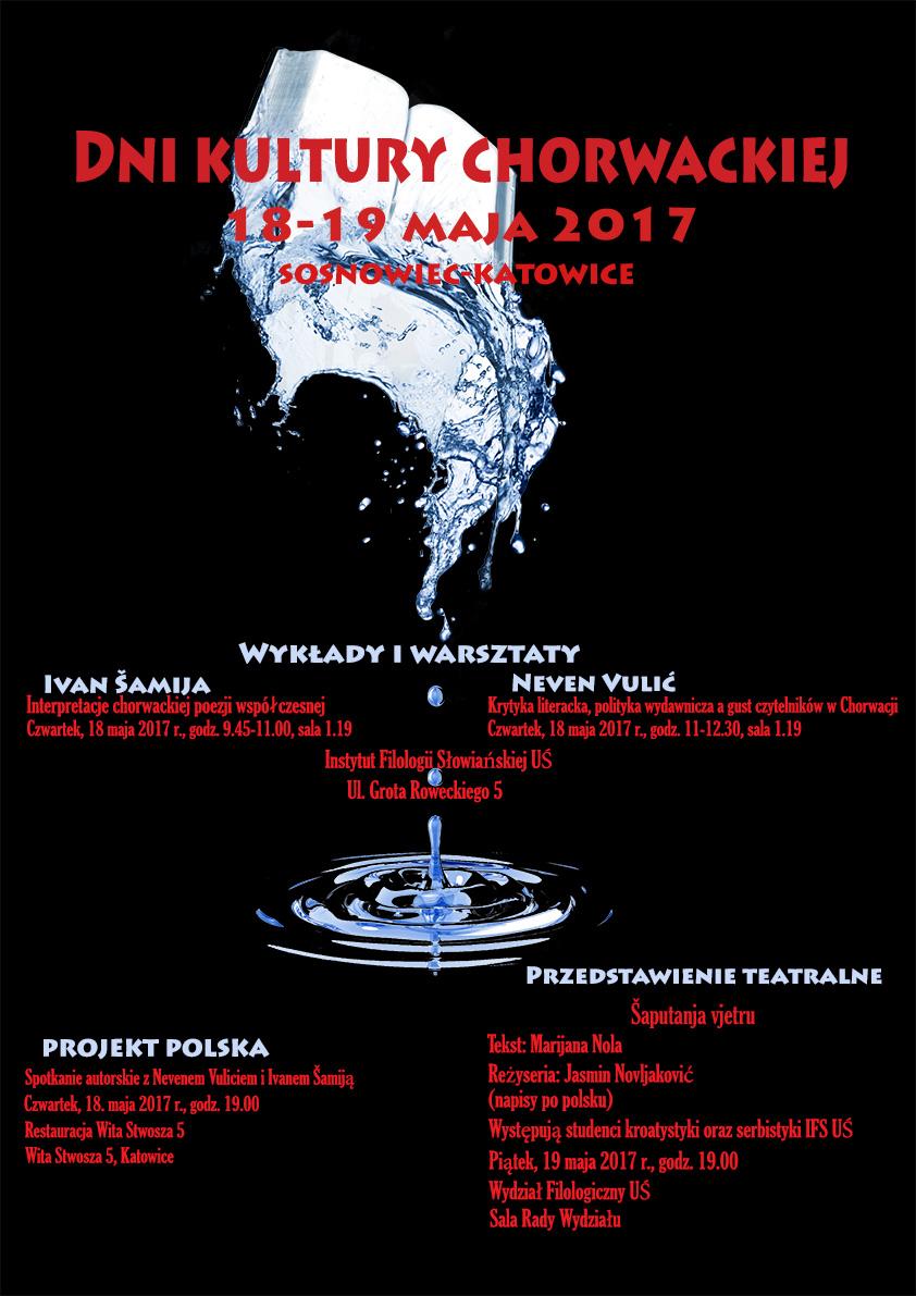 Plakat promujący Dni Kultury Chorwackiej ze szczególowym programem wyddarzenia